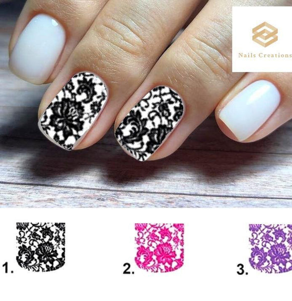 Lace Flowers Full Nail Decals Stickers Water Slides Nail Art