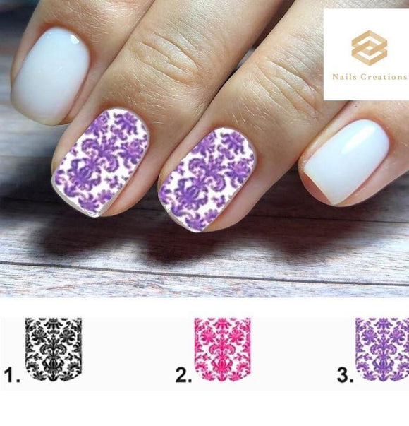 Baroque Lace Full Nail Decals Stickers Water Slides Nail Art