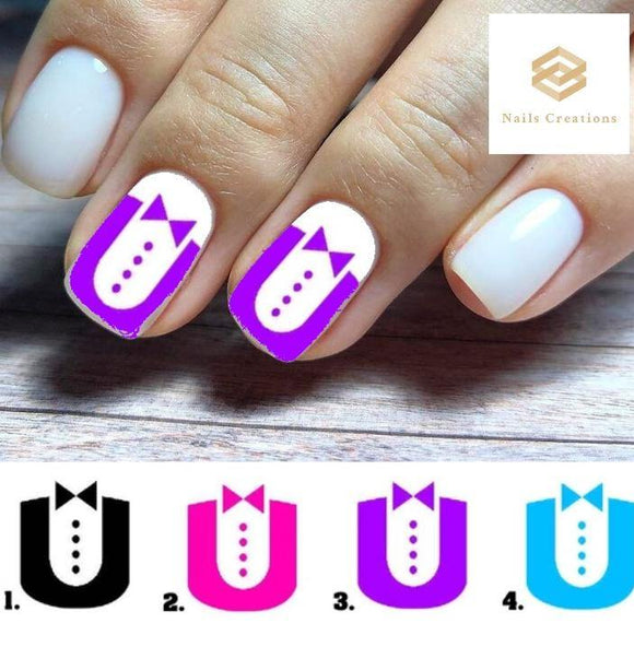 Tuxedo Full Nail Decals Stickers Water Slides Nail Art