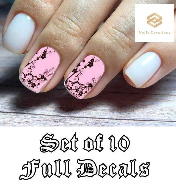 Pink with Black Flowers Full Nail Decals Stickers Water Slides Nail Art