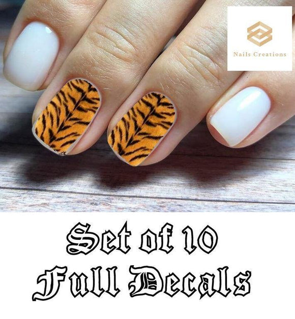 Tiger Stripes Full Nail Decals Stickers Water Slides Nail Art