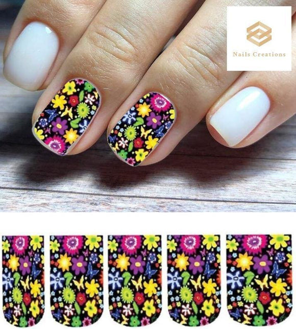 Colorful Flowers with Butterflies Full Nail Decals Stickers Water Slides Nail Art