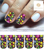 Colorful Flowers with Butterflies Full Nail Decals Stickers Water Slides Nail Art - Nails Creations