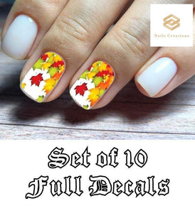 Fall Autumn Leaves Full Nail Decals Stickers Water Slides Nail Art