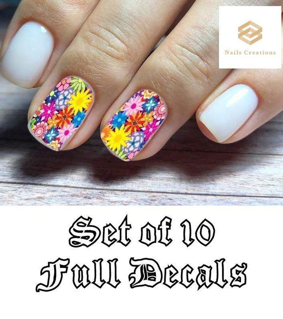Colorful Flowers Nail Decals Stickers Water Slides Nail Art - Nails Creations