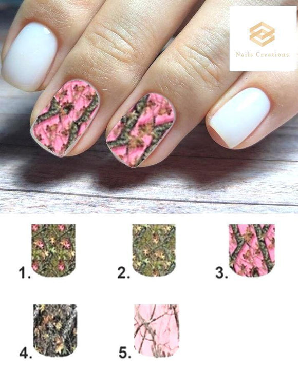 Realtree Camo Mossy Oak Full Nail Decals Stickers Water Slides Nail Art - Nails Creations