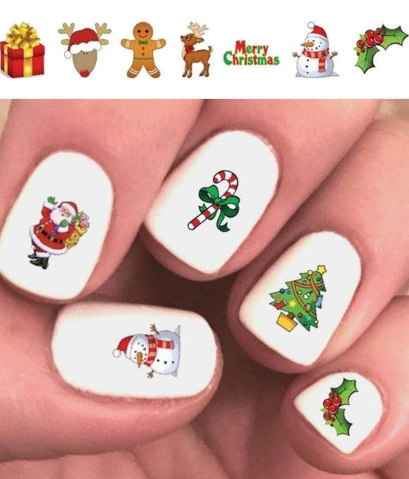 Merry Christmas Holiday Santa, Reindeer, Candy Cane, Snowman, Holly Assorted #2 Waterslide Nail Decals - Nails Creations