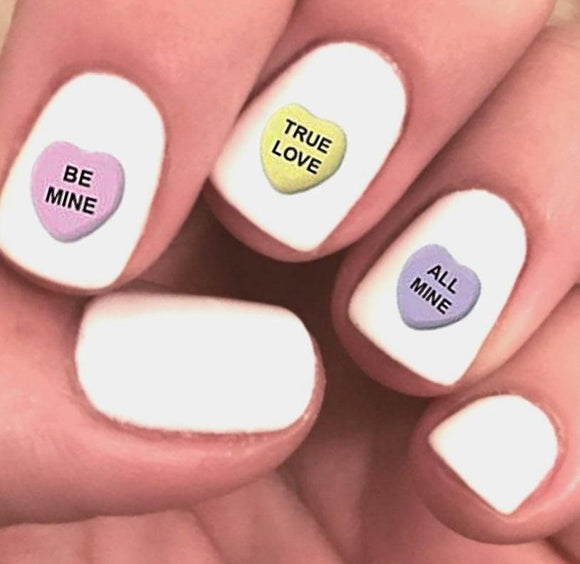 Conversation Candy Hearts Assorted Waterslide Nail Decals - Nails Creations