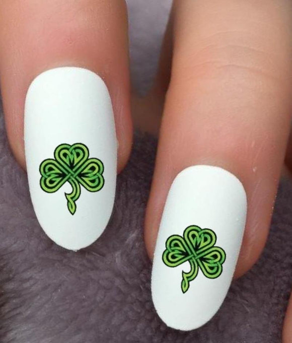 St Patricks Day Shamrock Waterslide Nail Decals - Nails Creations
