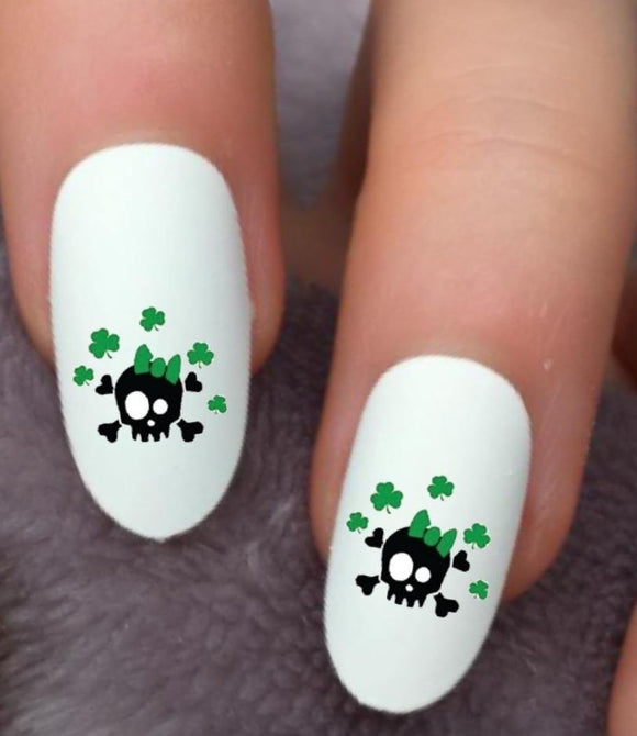 St Patricks Day Skull Waterslide Nail Decals - Nails Creations