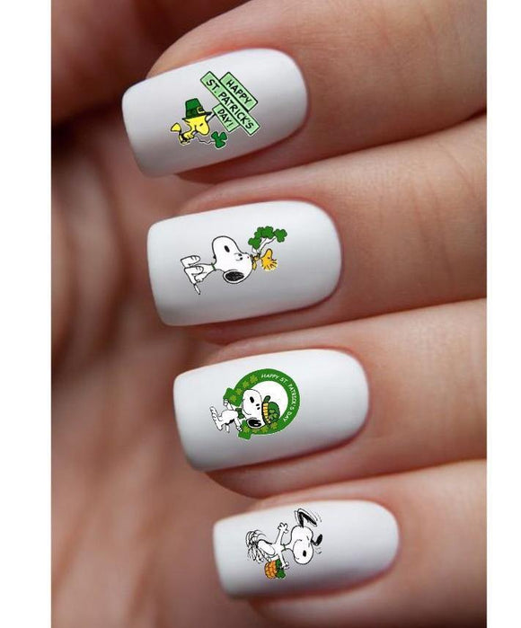 Snoopy Woodstock Happy St Patricks Day Assorted Waterslide Nail Decals - Nails Creations