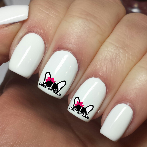 Cute Puppy with Pink Bow - Nail Art Waterslide Decals - Nails Creations