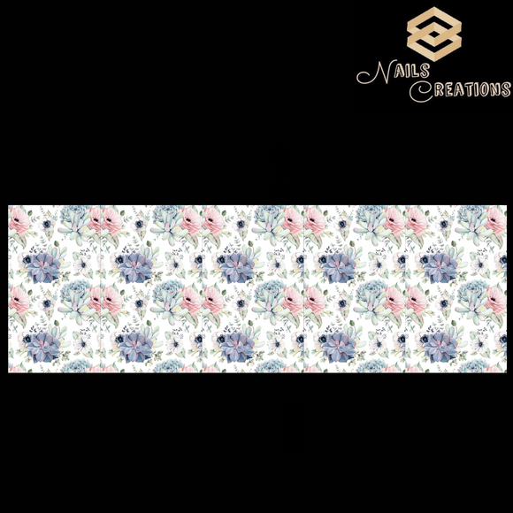 Floral Pattern Design Full Nail Art Waterslide Decals