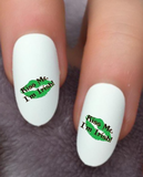 "St Patricks Day "" Kiss Me, I'm Irish "" Waterslide Nail Decals - Nails Creations"
