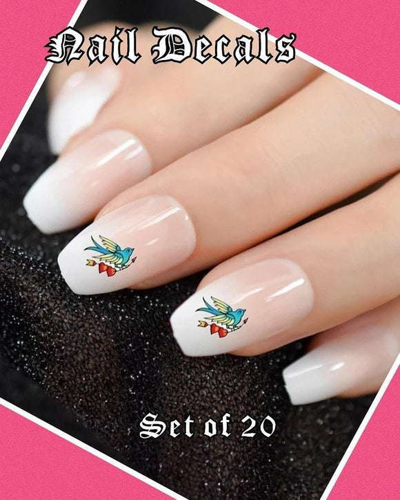 Blue Bird with Hearts and Arrow Nail Decals Stickers Water Slides Nail Art
