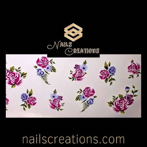 Colorful Spring Flowers Waterslide Nail Decals A025