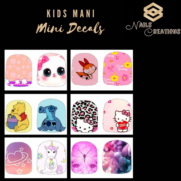 Kids Mani Mini Decals Full Nail Art Waterslide Decals - Nails Creations