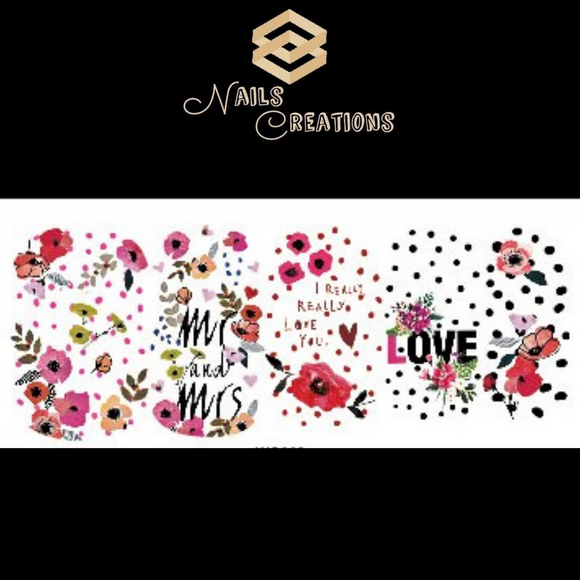 Mr and Mrs Love Wedding Full Nail Art Waterslide Decals
