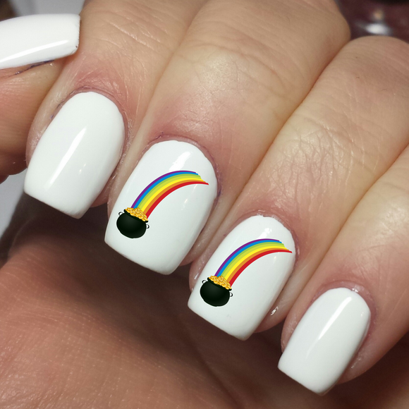 Pot of Gold Rainbow Nail Art Decals Stickers - Waterslide - Nails Creations