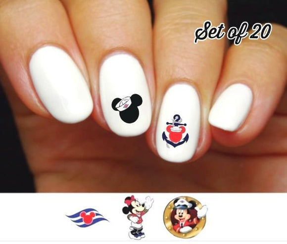 Disney Cruise Vacation Minnie & Mickey Assorted Nail Decals Stickers Water Slides Nail Art