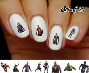 Avengers Thor, Captain America, Iron Man Assorted Nail Decals Stickers Water Slides Nail Art - Nails Creations