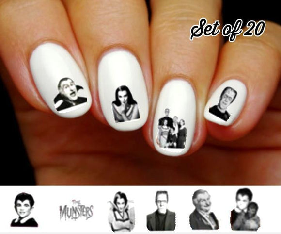The Munsters, Herman, Lily, Eddie Grandpa & Marilyn Assorted Nail Decals Stickers Water Slides Nail Art - Nails Creations