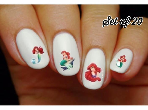 Ariel The Little Mermaid Assorted Nail Decals Stickers Water Slides Nail Art - Nails Creations