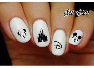 Disney Vacation, Castle, Minnie & Mickey Assorted Nail Decals Stickers Water Slides Nail Art