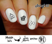 Load image into Gallery viewer, Harry Potter, Hogwarts, Quidditch, Muggle Assorted Nail Decals Stickers Water Slides Nail Art