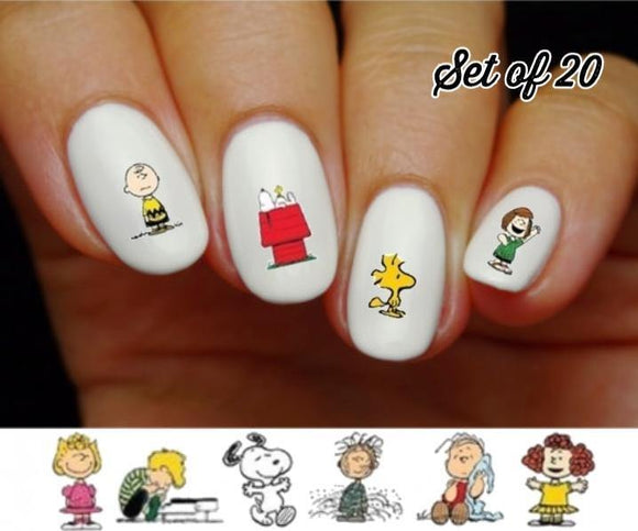 Charlie Brown Snoopy Woodstock Linus Lucy Assorted Nail Decals Stickers Water Slides Nail Art - Nails Creations