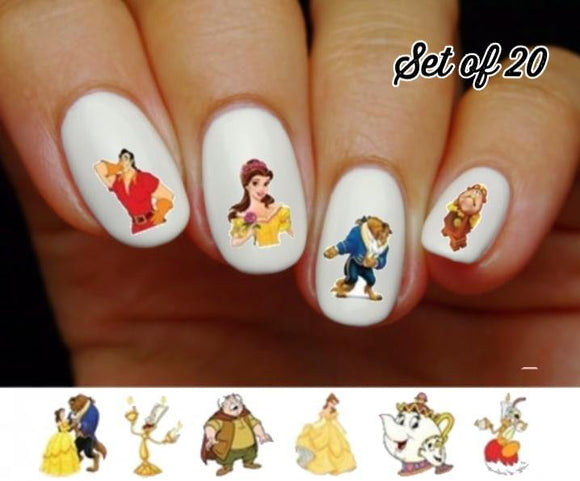 Beauty and the Beast, Belle, Lumiere, Gaston Assorted Nail Decals Stickers Water Slides Nail Art