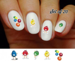 M & M's Assorted Nail Decals Stickers Water Slides Nail Art - Nails Creations