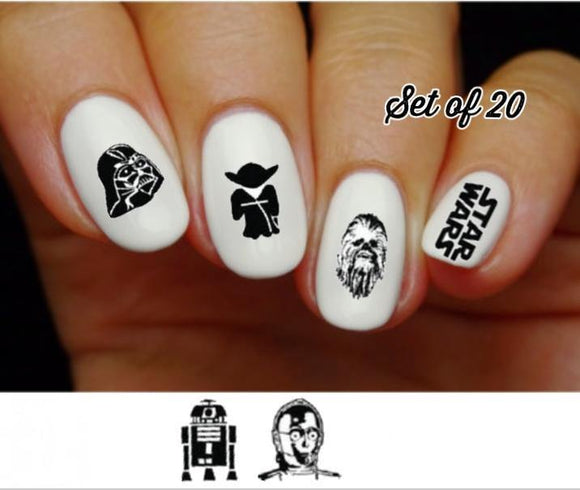 Star Wars Silhouette Assorted Nail Decals Stickers Water Slides Nail Art - Nails Creations
