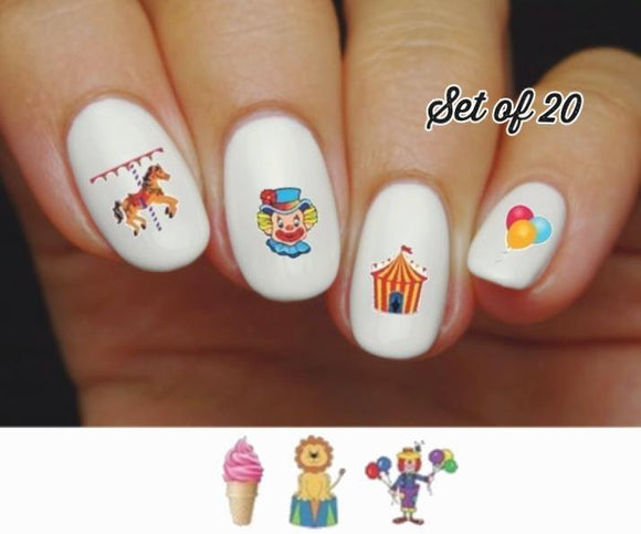 Circus Carnival Clown Horse Lion Balloons Assorted Nail Decals Stickers Water Slides Nail Art