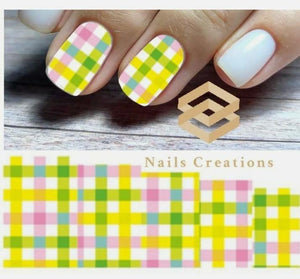 Plaid Nail Art Water Transfer Decals Stickers Full Nails Water Slides