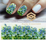 Blue Flowers Nail Art Water Transfer Decals Stickers Full Nails Water Slides - Nails Creations