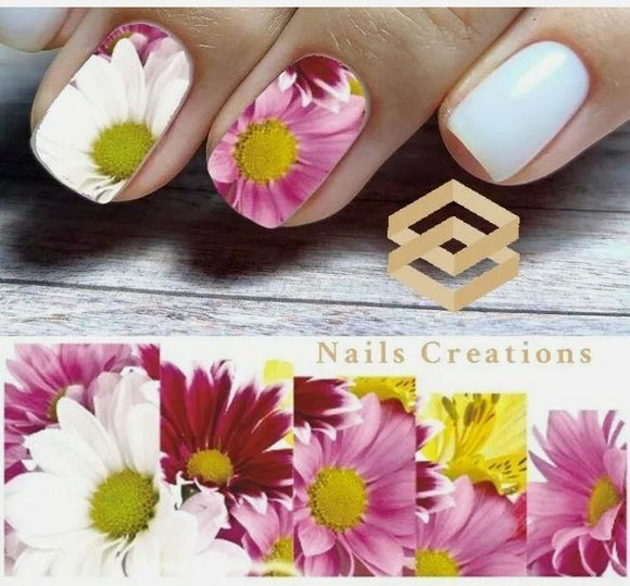 Pink Flowers Nail Art Water Transfer Decals Stickers Full Nails Water Slides
