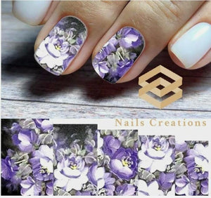 Purple Flowers Nail Art Water Transfer Decals Stickers Full Nails Water Slides