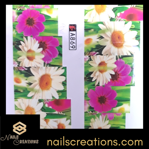 Spring Daisy Flowers Waterslide Nail Decal A869