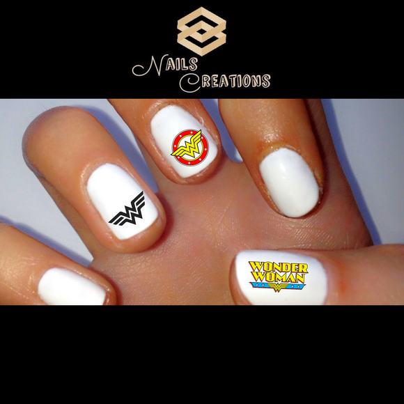 Wonder Woman Assorted Set of 20 Waterslide Nail Decals - Nails Creations