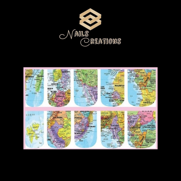 World Map Waterslide Full Nail Decals - Nails Creations