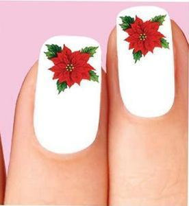 Christmas Holiday Poinsettia Waterslide Nail Decals - Nails Creations