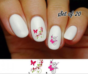 Butterfly with Vines and Flowers Nail Decals Stickers Water Slides Nail Art
