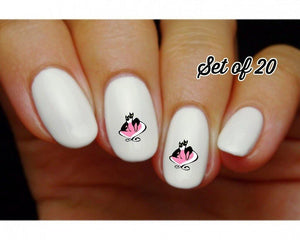 Cats with Pink Heart Nail Decals Stickers Water Slides Nail Art