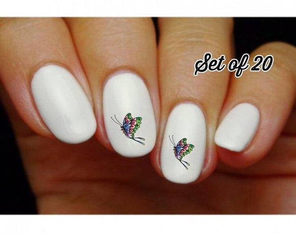Butterfly Tattoo Nail Decals Stickers Water Slides Nail Art