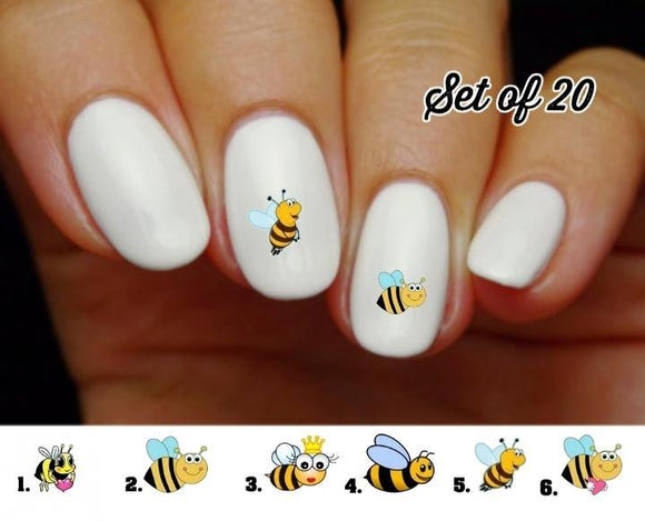 Bumble Bee Nail Decals Stickers Water Slides Nail Art