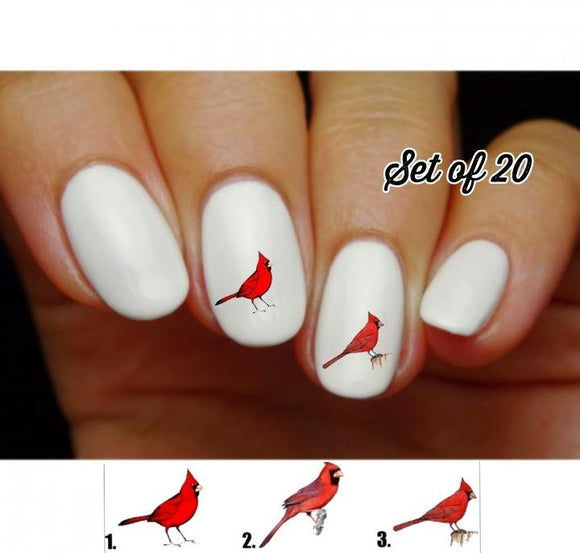 Red Cardinal Nail Decals Stickers Water Slides Nail Art - Nails Creations
