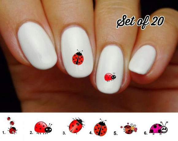 Ladybug Nail Decals Stickers Water Slides Nail Art