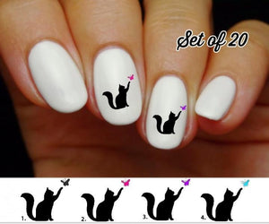 Cat with Butterfly Nail Decals Stickers Water Slides Nail Art