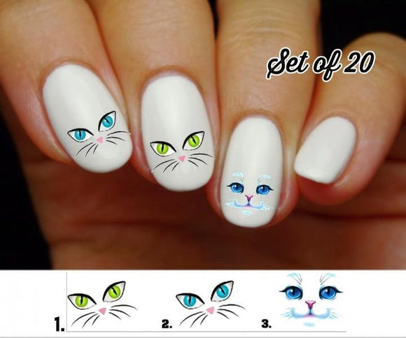 Cat kitty Face Nail Decals Stickers Water Slides Nail Art